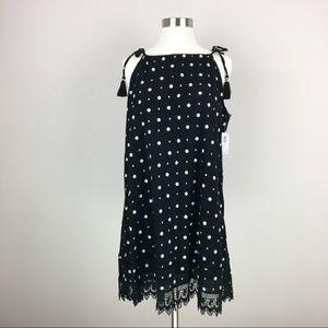 NWT Old Navy Black Print Tie Shoulder Swing Dress